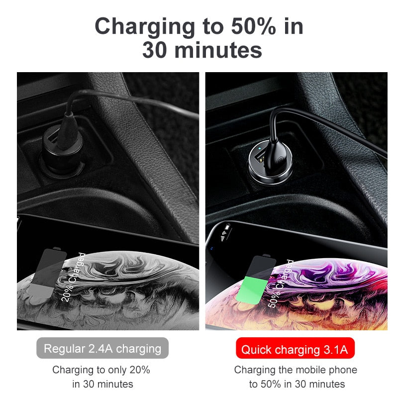 Baseus Car Charger Cigarette Lighter Socket Splitter Hub Power Adapter for iPhone Samsung Mobile Phone Expander Charger DVR GPS