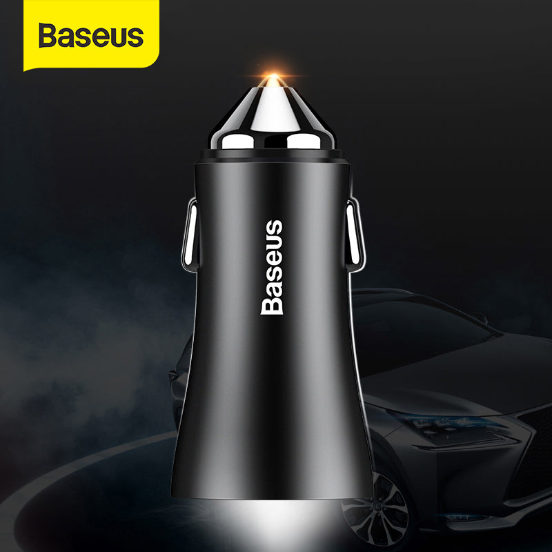Baseus Car Charger For iPhone Samsung Dual USB Mobile Phone Charger Car Cigar Lighter Tablet GPS Travel Adapter Phone Charger