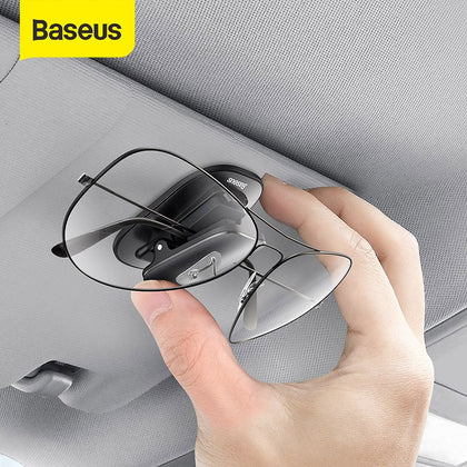 Baseus Car Glasses Case Auto Sun Visor Glasses Holder Sunglasses Clip Card Ticket Holder Pen Case Clip Box Universal Accessories