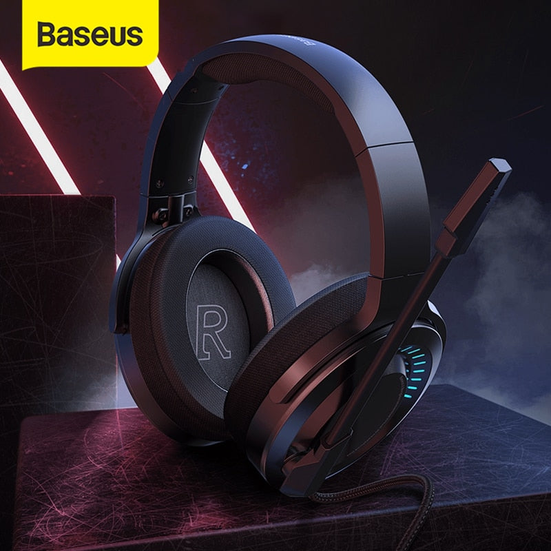 Baseus D05 3D Stereo Gaming Headphone USB/Type-C Colorful LED Light Wired Game Headsets with HD Microphone For Computer PC Gamer