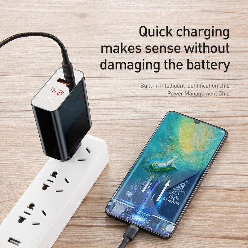 Baseus Dual USB Charger 45W Support Quick Charge 4.0 3.0 Type C PD Fast Charger with Digital Display For Samsung Huawei Xiaomi