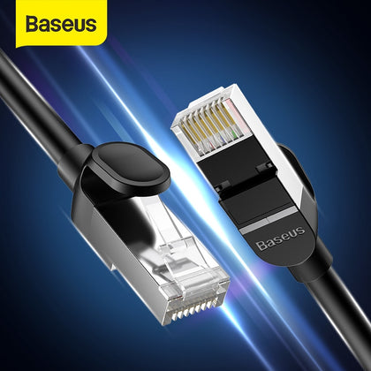 Baseus Ethernet Cable Cat6 RJ45 Cable RJ 45 Network Cable UTP Flat Round Lan Cable for Laptop Router 5m/15m Patch Internet Cable