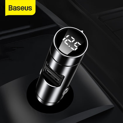 Baseus FM Transmitter Bluetooth 5.0 Wireless Handsfree Car Audio Receiver Auto MP3 Player Dual USB Fast Charger Car Accessories