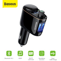 Baseus FM Transmitter Modulator Bluetooth 5.0 Wireless Car Audio MP3 Vehicle Charger Player Cigarette Lighter Socket Splitter Car Phone Charger