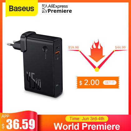 Baseus GaN Power Bank 10000mAh with USB Charger 45W PD Fast Charging Charger & Battery in one ForiPhone 11 Pro Laptop