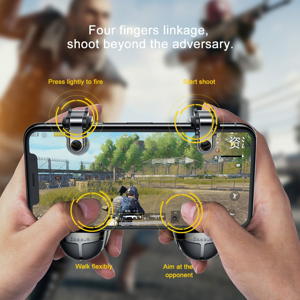 Baseus Gamepad For PUBG IOS Android Joystick Joypad L1 R1 Mobile Phone Game Pad Shooter Controller Trigger Fire Button Handle