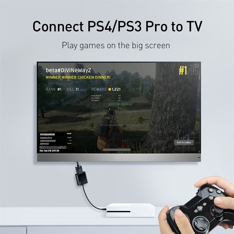 Baseus HDMI to VGA Adapter for Xiaomi Box 3 4 Male HDMI to Female VGA Adapter 1080P Converter with 3.5 Jack for TV PC Projector
