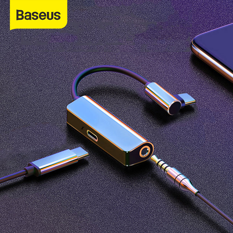 Baseus L53 USB C to 3.5mm aux audio Adapter usb type c Extension Cable with PD 18W Quick Charging forSamsung For Huawei