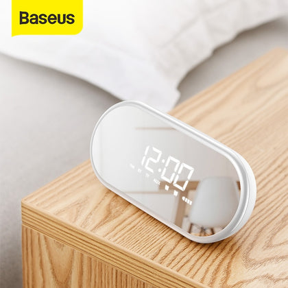Baseus LED Digital Alarm Clock With Wireless Bluetooth Speaker Portable Night light Table Clock Desk Clocks For Home & Office