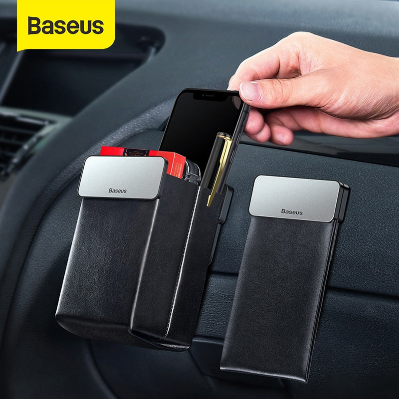 Baseus Leather Car Storage Bag Tidy Car Seat Organizer Universal Cell Phone Pouch Magnet Collecting Pocket Auto Accessories