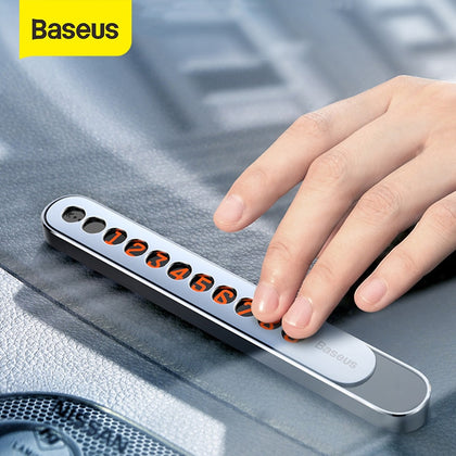 Baseus Metal Car Temporary Parking Card Hideable  Phone Telephone Number Plate & Luminious Numbers at Night Car Accessories