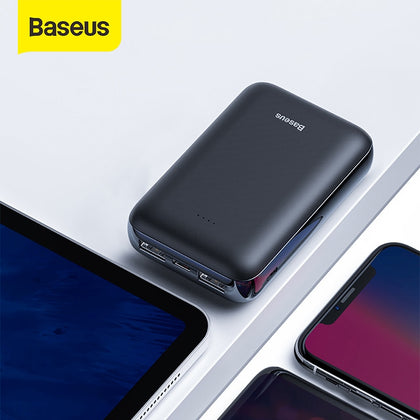 Baseus Mini 10000mAh Power Bank Dual USB External Battery Pack Powerbank Compact Portable Phone Charger Povebank