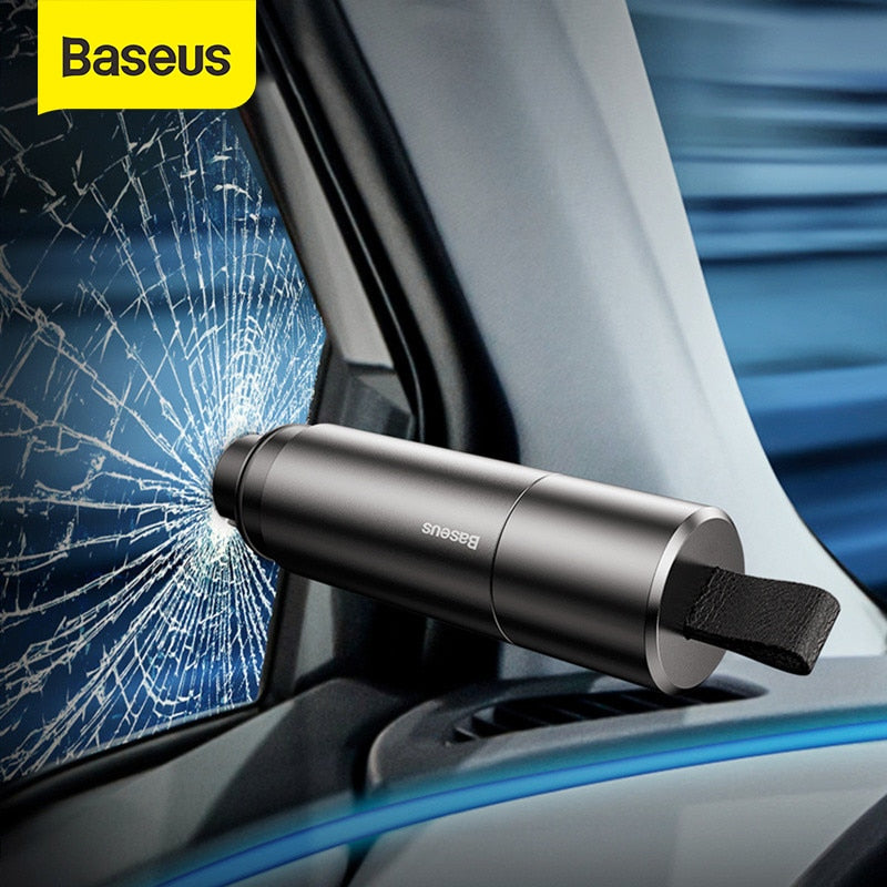 Baseus Mini Car Window Glass Breaker Seat Belt Cutter Safety Hammer Life-Saving Escape Hammer Cutting Knife Interior Accessories