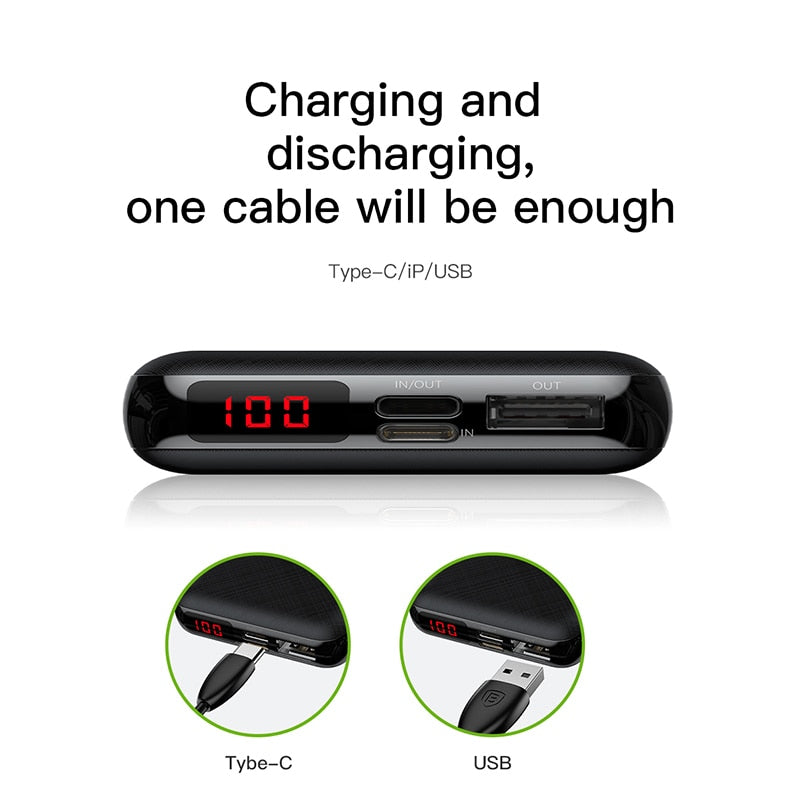 Baseus Mini Power Bank 10000mAh USB Type C Fast Charging 10000 mAh Powerbank Portable External Battery Charger ForXiaomi For iPhone