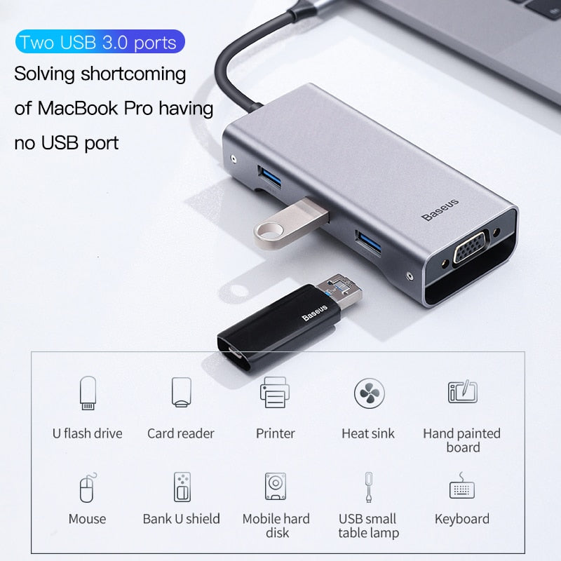 Baseus Multi USB C HUB to HDMI USB 3.0 SD TF Card Reader VGA Adapter USB Splitter for MacBook Pro Air Type C Charging USB C Dock