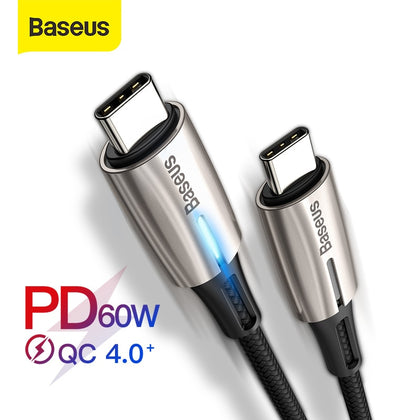 Baseus PD 60W USB C to USB Type C Cable for MacBook Pro Xiaomi Mi 9 8 Redmi K20 Pro LED Type C Quick Charge 4.0 PD USB-C Cable