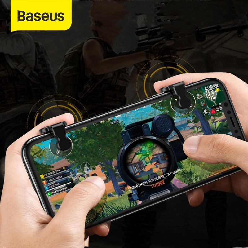 Baseus PUBG Joystick Controller Triggers For iPhone Celular Joypad Gamepad Android Fire Aim Mobile Phone Triger Controller PUBG