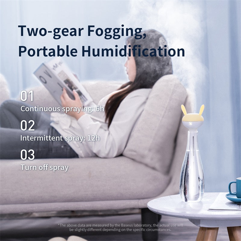 Baseus Portable Humidifier Aroma Diffuser For Home Office Unlimited Container Air Humidifier Humidificador With LED Nightlight
