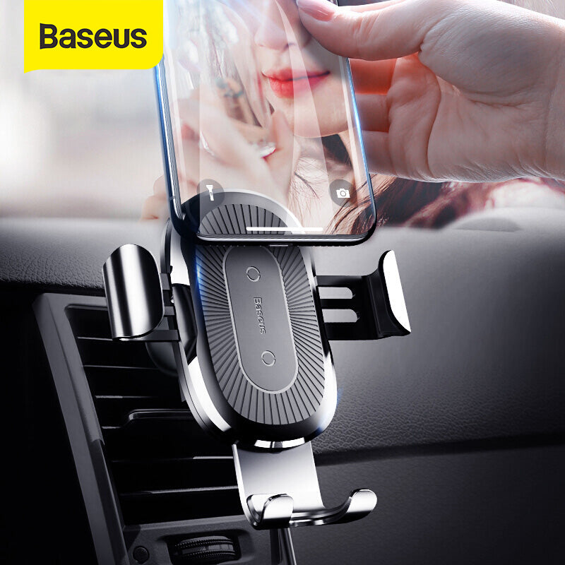 Baseus Qi Wireless Car Charger For Smart Phone Car Wireless Charger 10W Fast Charging Car Air Vent Mount Phone Holder