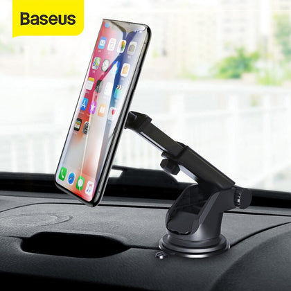 Baseus Telescopic Car Phone Holder For iPhone Cell Mobile Phone Windshield Dashboard Suction Cup Car Mount Magnetic Holder Stand