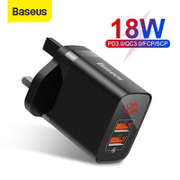 Baseus UK Plug Fast Charger 18W USB C PD Charger Quick Charge 3.0 Dual USB Ports Charger with Digital Display for Smartphone
