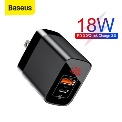Baseus US Plug 18W Charger USB C PD Fast Charging Wall Charger Quick Charge 3.0 Dual USB Ports Charger with Digital Display
