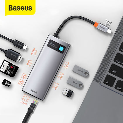 Baseus USB C HUB Type C to HDMI-compatible USB 3.0 Adapter 8 in 1 Type C HUB Dock for MacBook Pro Air Notebook USB C Splitter