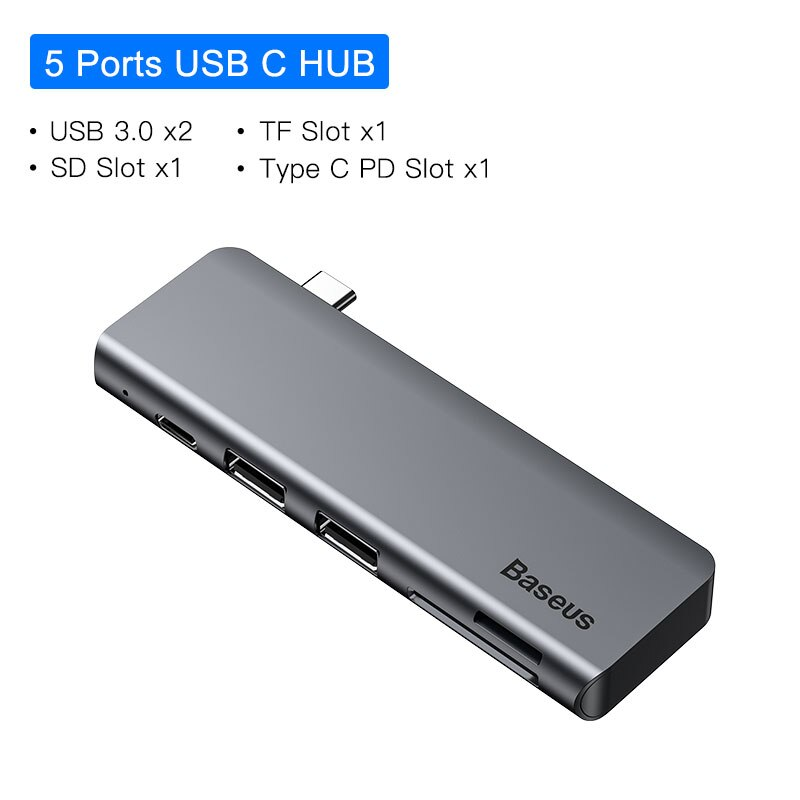 Baseus USB C HUB to Multi HDMI USB 3.0 USB HUB for MacBook Adapter Accessories Pro Thunderbolt 3 SD Card Reader Type-C USB HUB