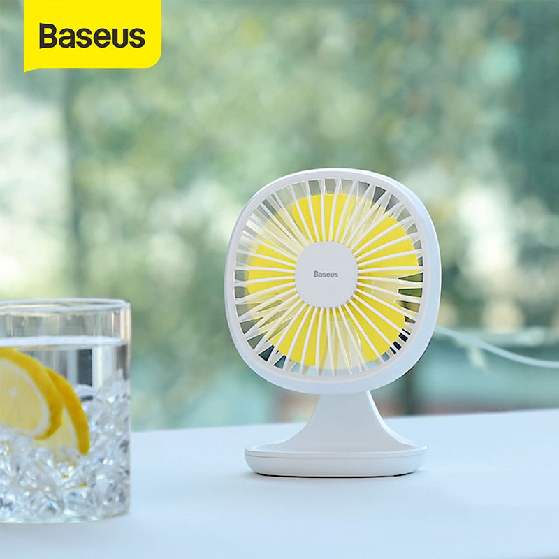 Baseus USB Gadgets Cool Fan Portable Ventiladors 3-Speed Electric Mini USB Fan Quiet Summer Cooler 5 Blades Desktop Office Fan