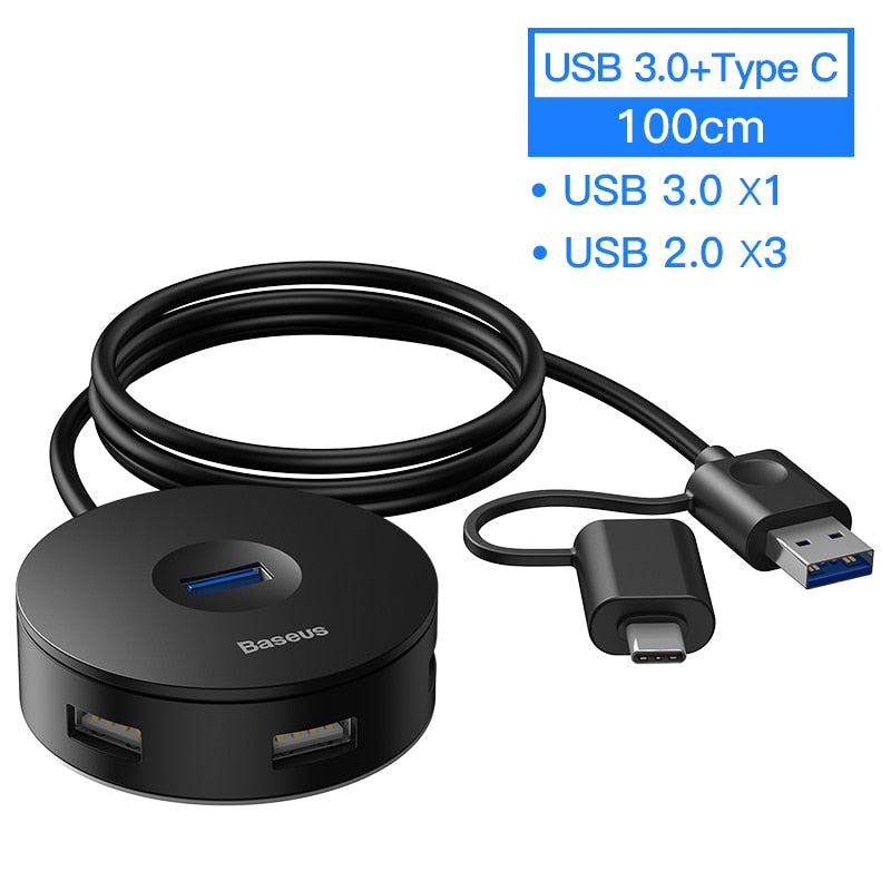 Baseus USB HUB USB 3.0 USB C HUB for MacBook Pro Surface USB Type C HUB USB 2.0 Adapter with Micro USB for Computer USB Splitter
