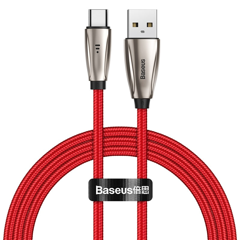 Baseus USB Type C Cable for Samsun S9 S10 Quick Charge 3.0 USB C Cable for Xiaomi Redmi Note 8 Pro LED USB Type USB-C Wire Cord