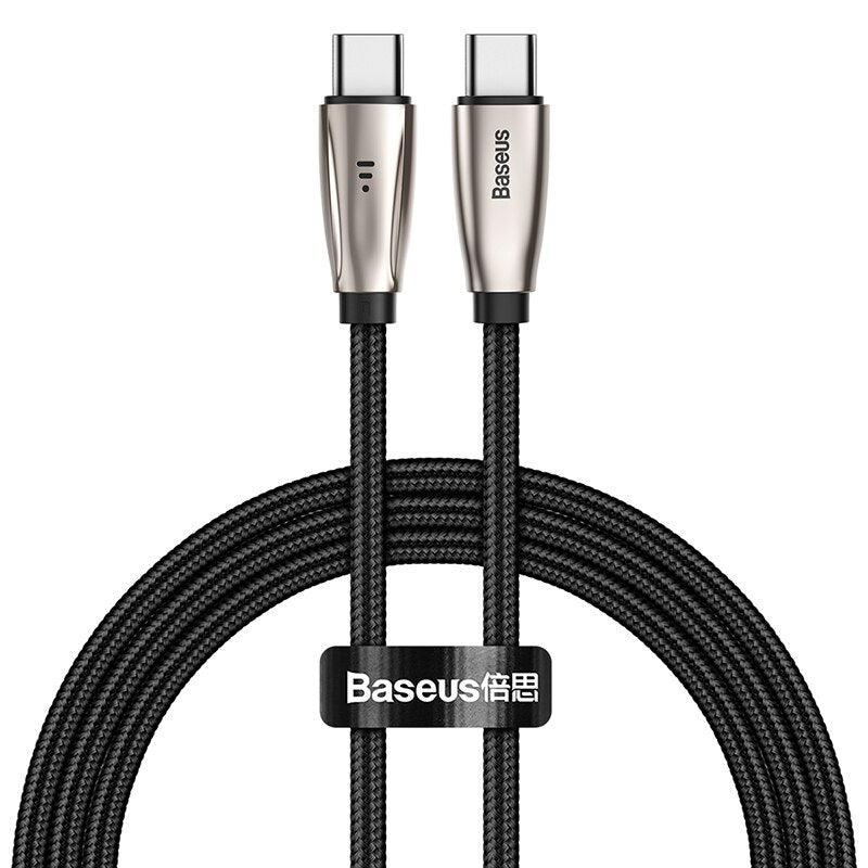 Baseus USB Type C to Type C Cable for Samsung S10 MacBook Pro LED 60W PD Fast Charging Cable Quick Charge 4.0 Type USB-C Cable