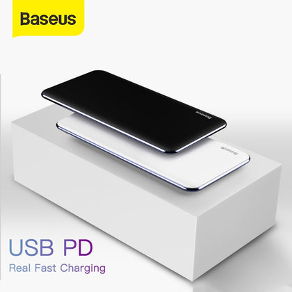 Baseus Ultra Thin 10000mAh Power Bank USB Type C PD Fast Charging Powerbank 10000mAh Portable External Battery Charger For Phone
