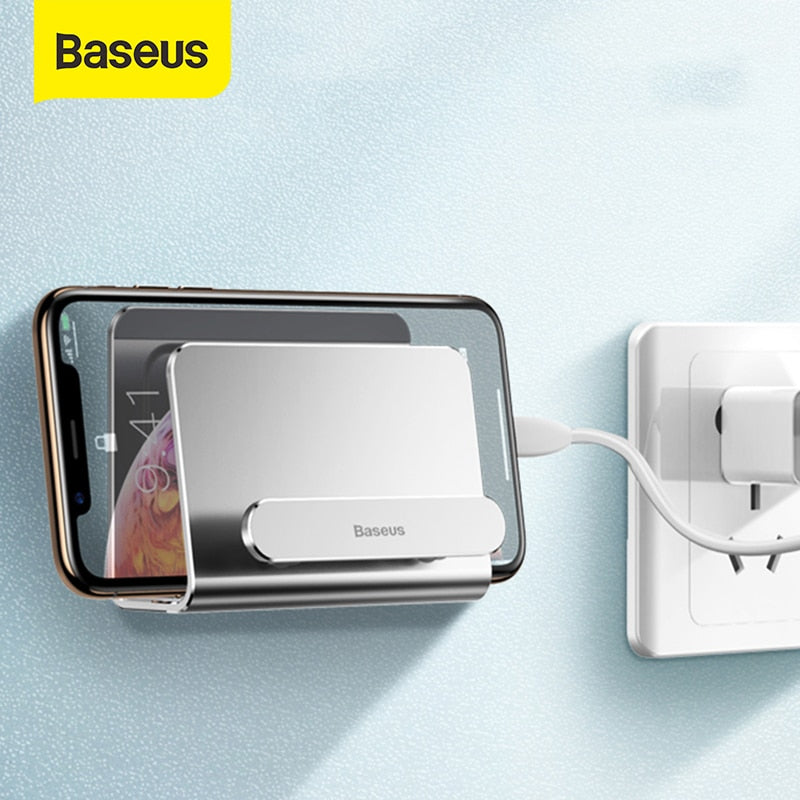 Baseus Wall Phone Holder for Charg Power Bank Mount Holder Adhesive Charging Socket for iPhone Samsung Holder Stand Phone Socket