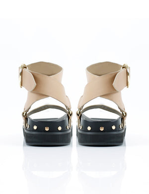 La Tribe Studded Sandal 2524 in Nude/Gold