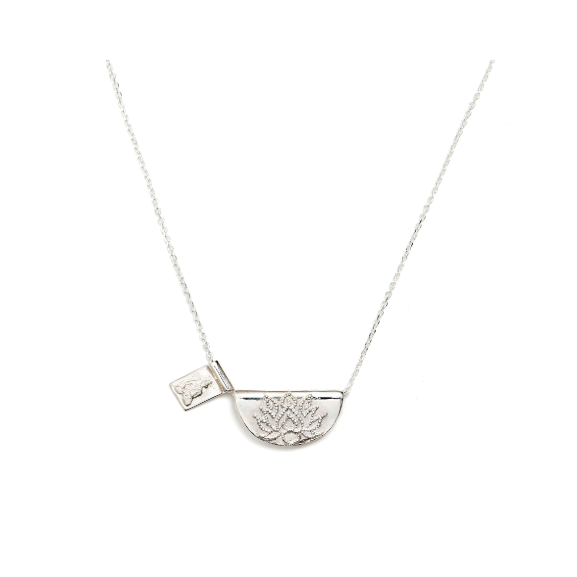 By Charlotte Silver Lotus Short Necklace with Buddha-BY CHARLOTTE-NikandShe