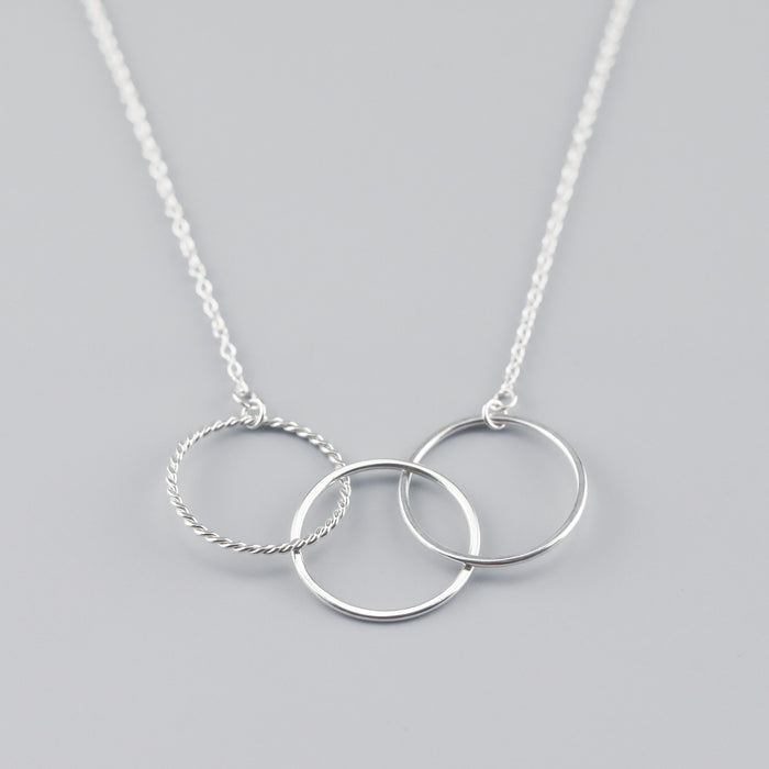 Silver 3-Link Necklace with a twist