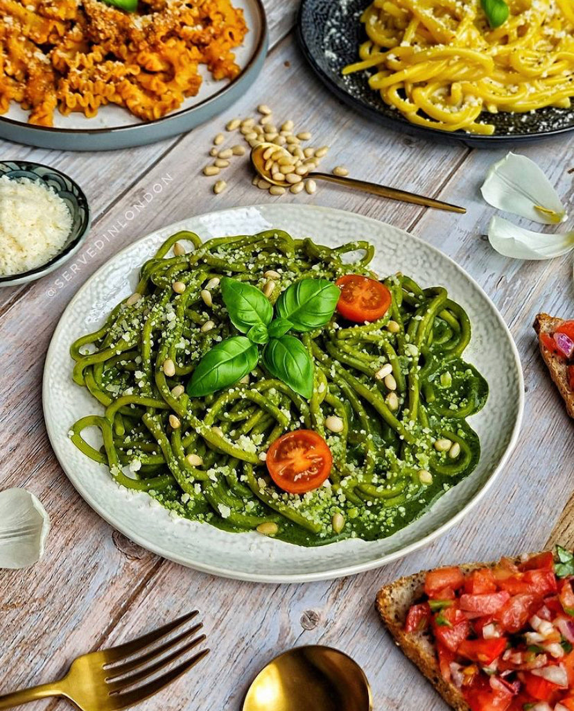 Bigoli with fresh made organic basil pesto