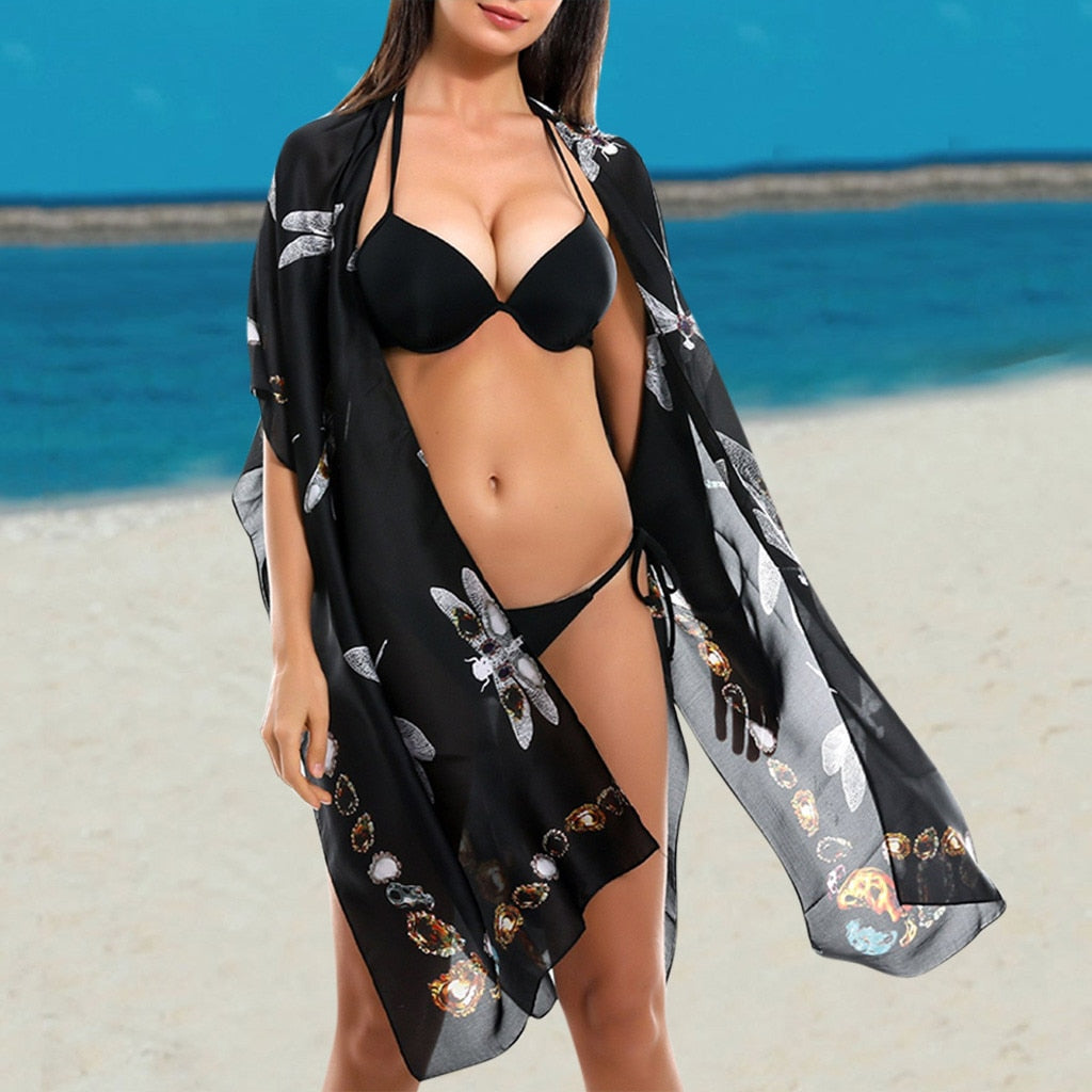 Dragonfly Print Bikini Cover Up