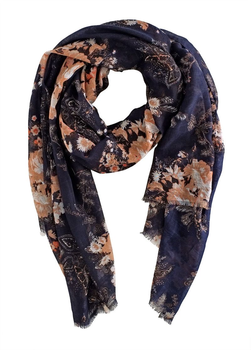 Navy and Nude Floral Scarf