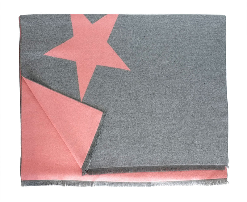 Grey and Blush Reversible Star Scarf