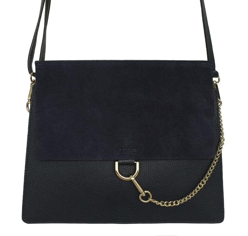Navy Suede and Leather Crossbody