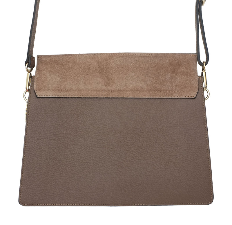 Taupe Suede and Leather Crossbody