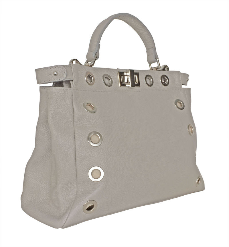Soft Grey Leather Daybag