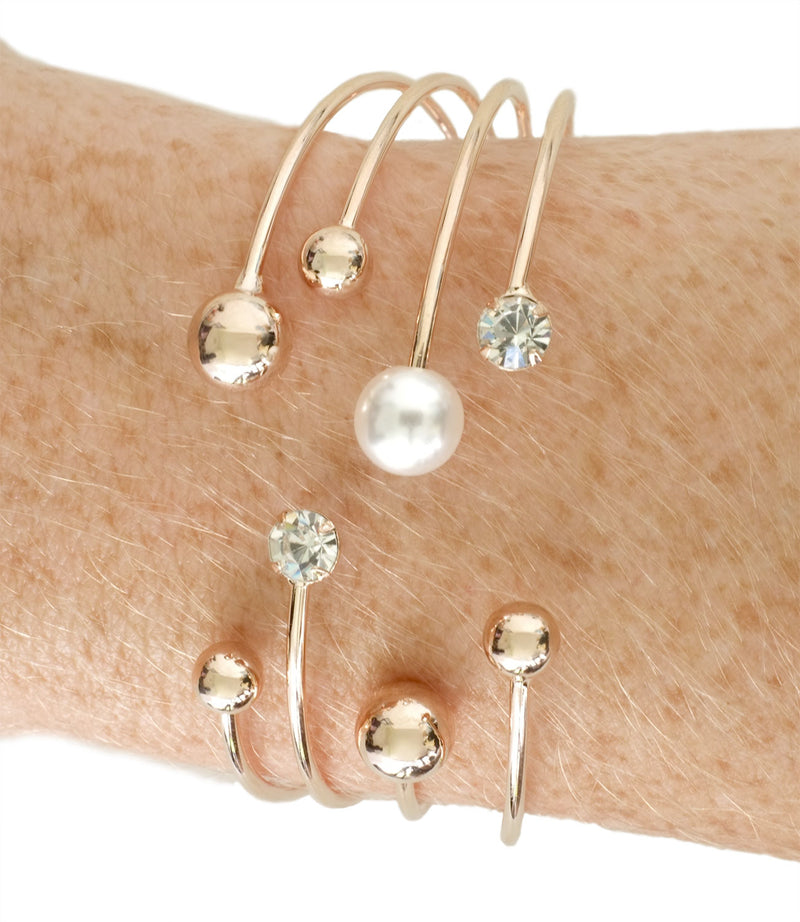 Gold Pearl and Diamanté Bangle