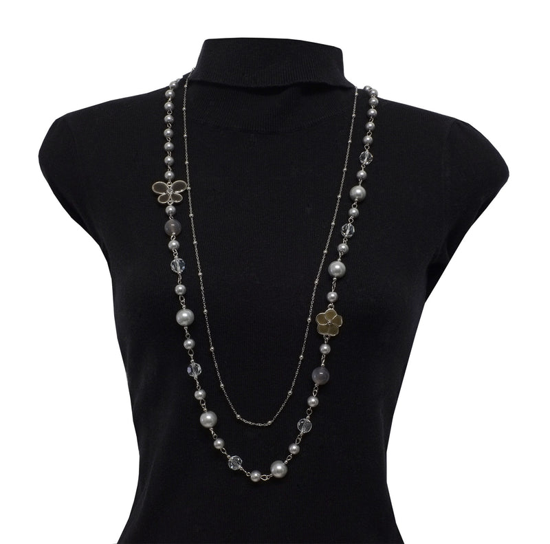 Anthracite and Silver Pearl Necklace