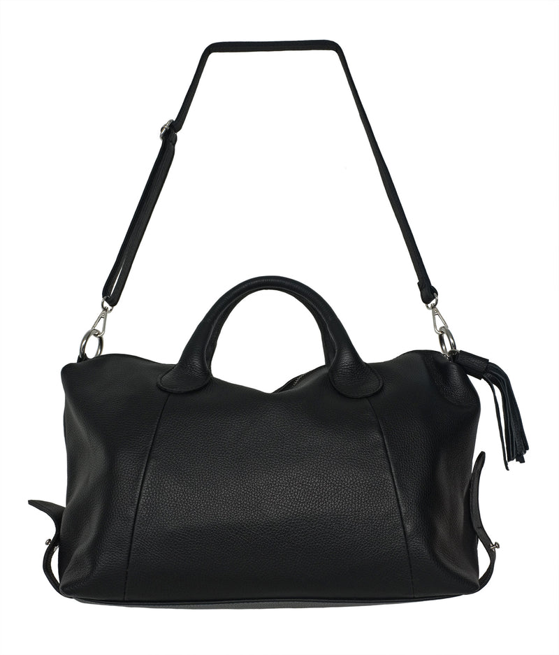 Large Black Leather Holdall