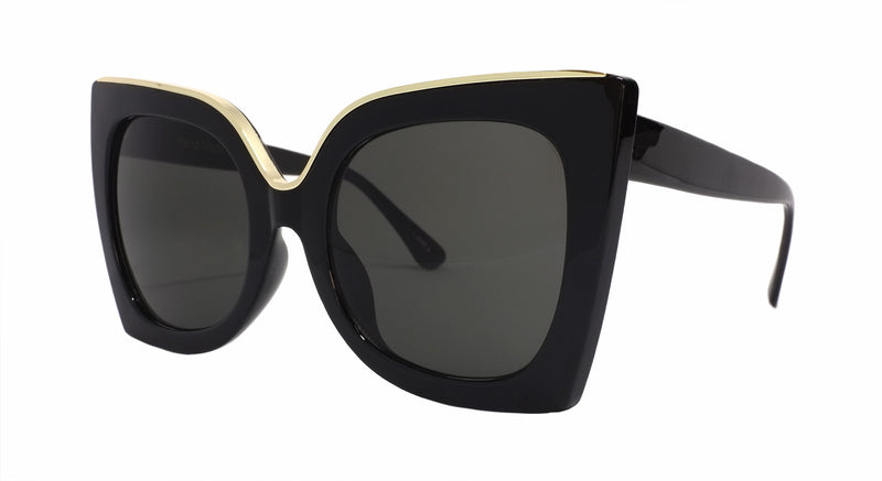 Black and Gold Oversize Sunglasses