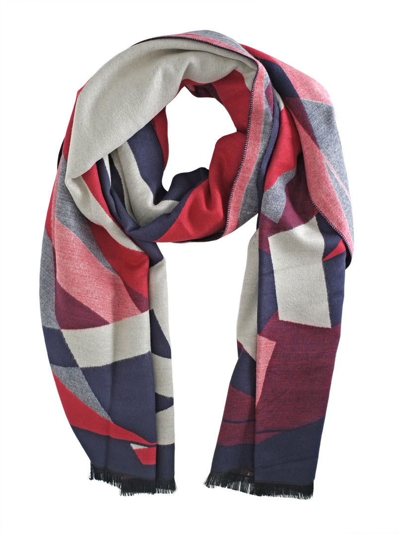Navy and Cream Graphic Scarf