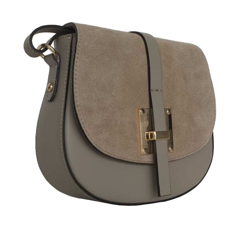 Taupe Suede and Leather Saddle Bag